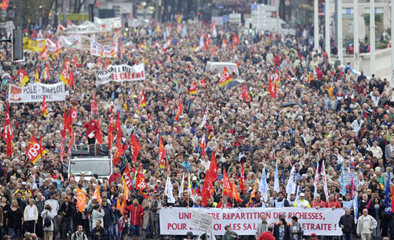 Workers demonstrate over pension reforms in France