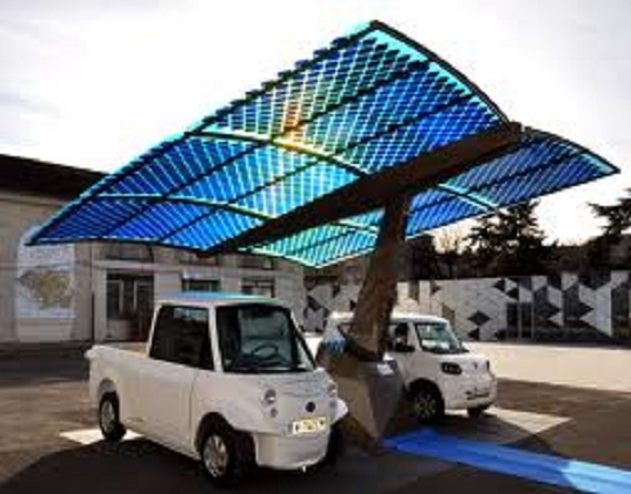 Solar panels used as parking spot